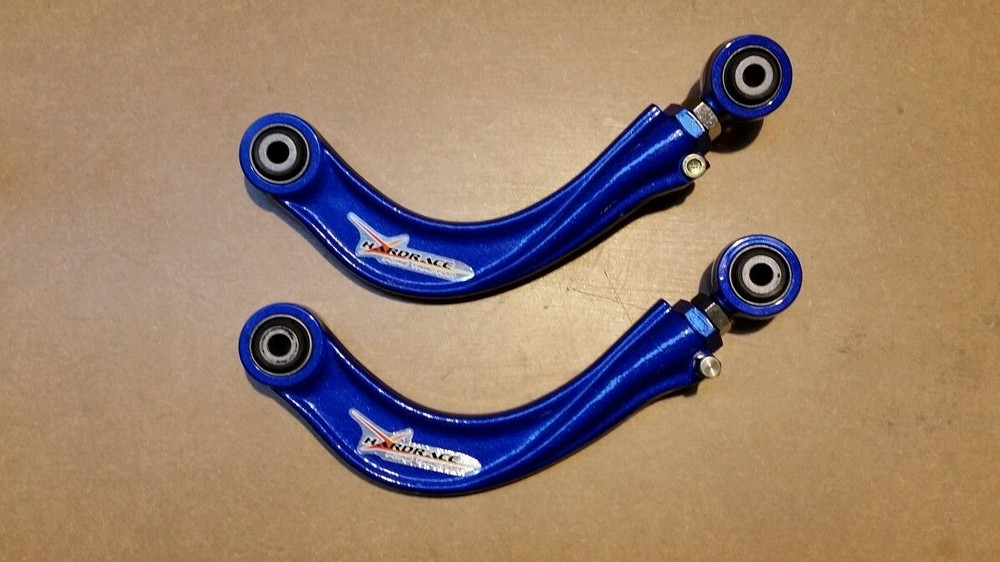 FOCUS RS MK1 REAR ADJUSTABLE CAMBER ARMS BLUE NEW HARDENED RUBBER HARDRACE